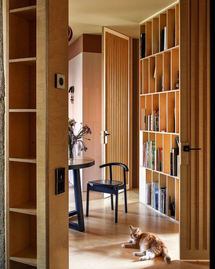 высокая дверь с рейками