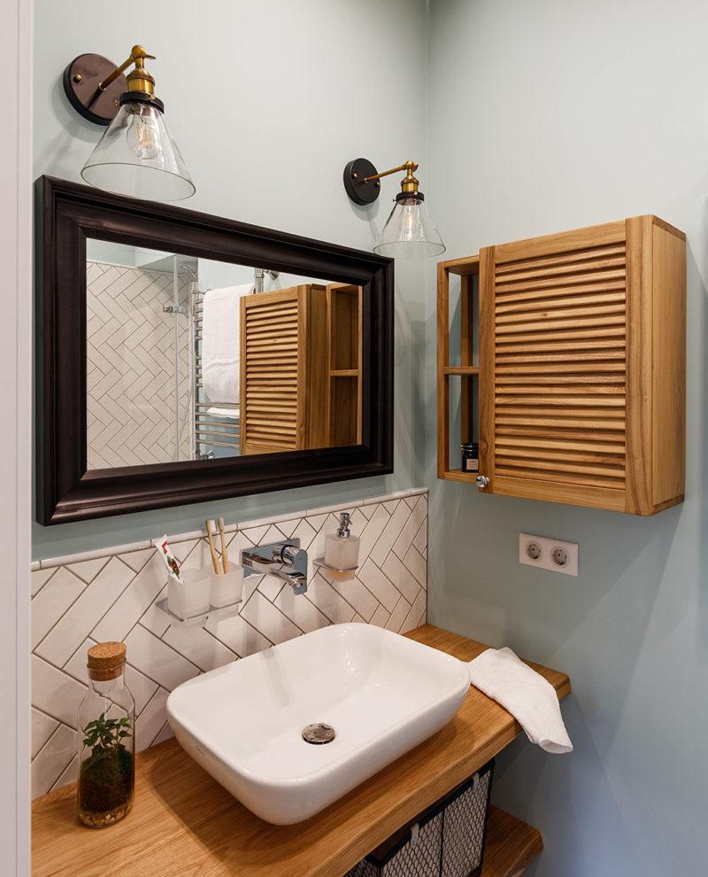 шкафчик с реечной дверцей и столешница под раковину